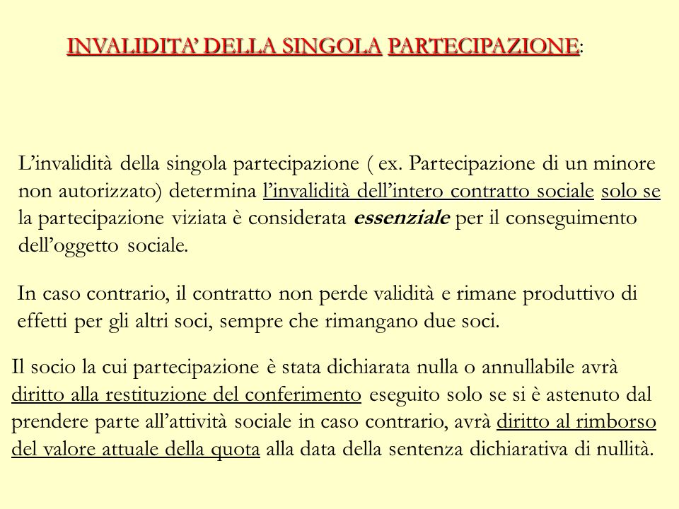 INVALIDITA DELLA SOCIETA Le cause di INVALIDITA sono regolate dagli art. 1418 e 1425 c.c. previste dalla disciplina generale dei contratti. NULLITA CO