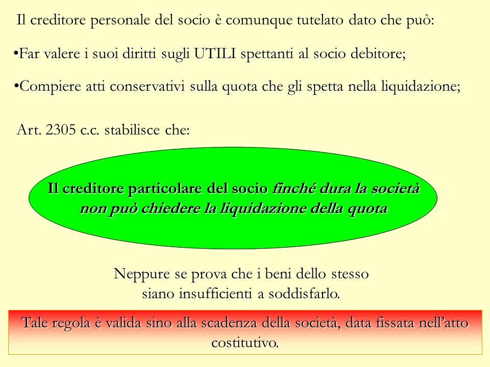 Creditore personale del socio (art. 2770, 2305c.c.) Il patrimonio della società è INSENSIBILE alle obbligazioni personali del socio.. Il patrimonio de