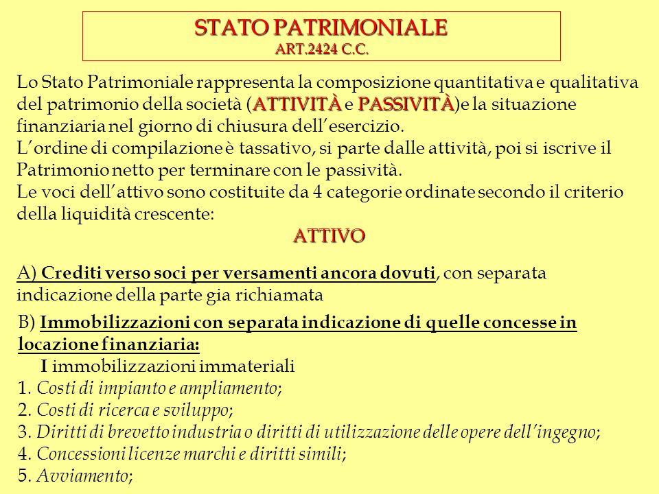 STRUTTURA DEL BILANCIO Il bilancio è strutturato in tre parti: STATO PATRIMONIALE (art. 2423 ter c.c.) CONTO ECNOMICO (art. 2423 ter c.c.) NOTA INTEGR