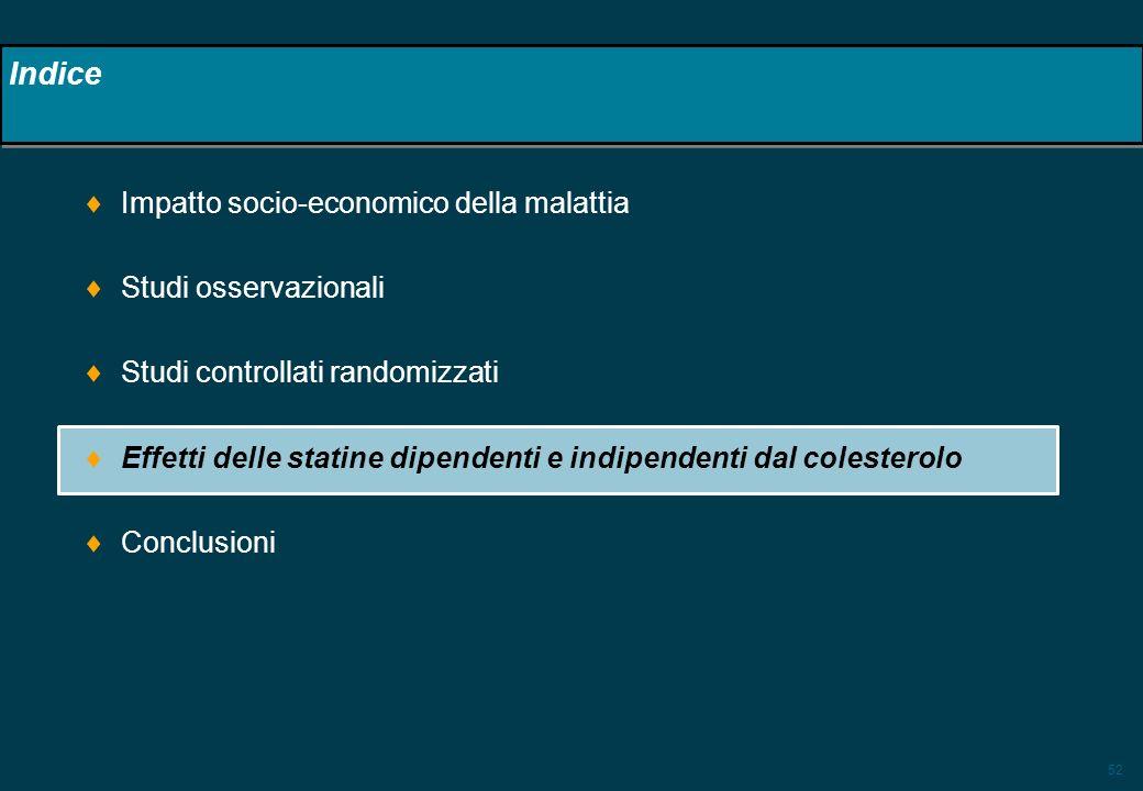 52 Indice Impatto socio-economico della malattia Studi osservazionali Studi controllati randomizzati Effetti delle statine dipendenti e indipendenti d