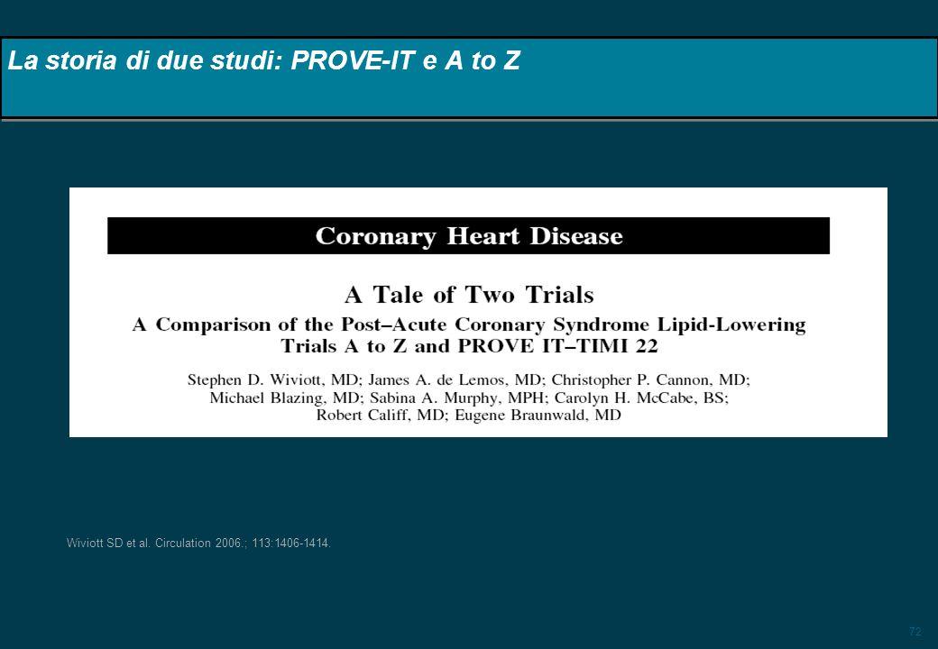 72 Wiviott SD et al. Circulation 2006.; 113:1406-1414. La storia di due studi: PROVE-IT e A to Z