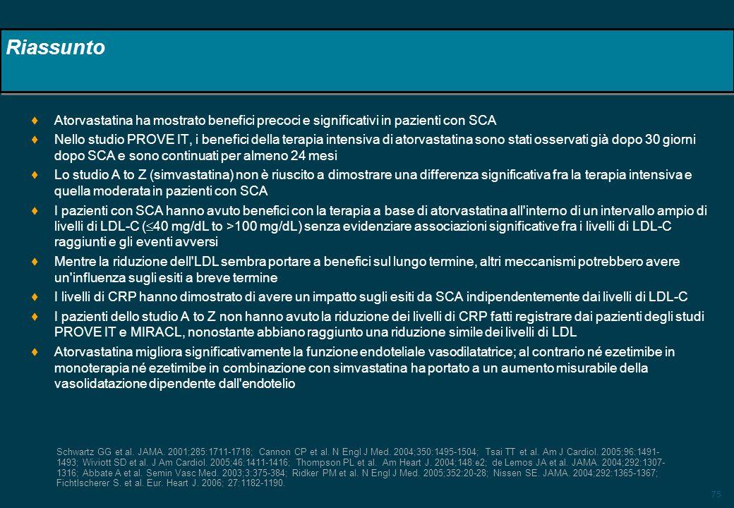 75 Riassunto Atorvastatina ha mostrato benefici precoci e significativi in pazienti con SCA Nello studio PROVE IT, i benefici della terapia intensiva