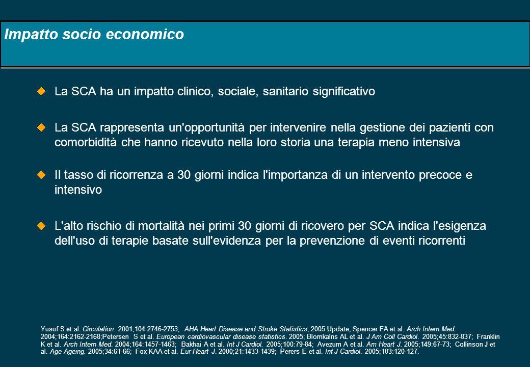 Impatto socio economico La SCA ha un impatto clinico, sociale, sanitario significativo La SCA rappresenta un'opportunità per intervenire nella gestion