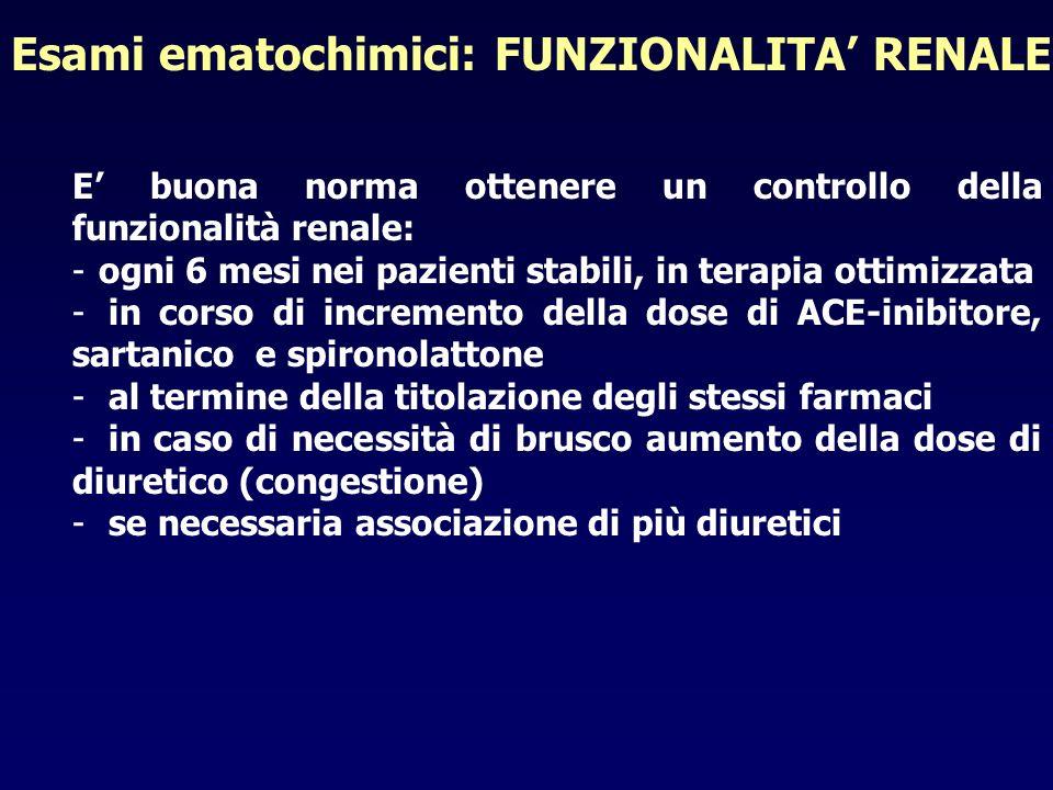 E buona norma ottenere un controllo della funzionalità renale: -ogni 6 mesi nei pazienti stabili, in terapia ottimizzata - in corso di incremento dell