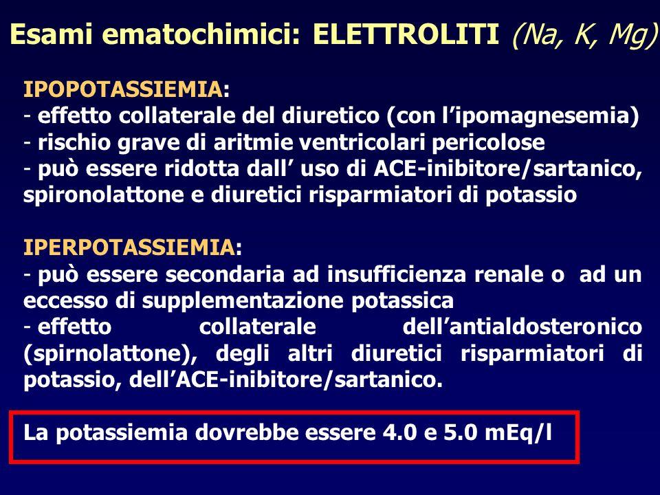 IPOPOTASSIEMIA: - effetto collaterale del diuretico (con lipomagnesemia) - rischio grave di aritmie ventricolari pericolose - può essere ridotta dall