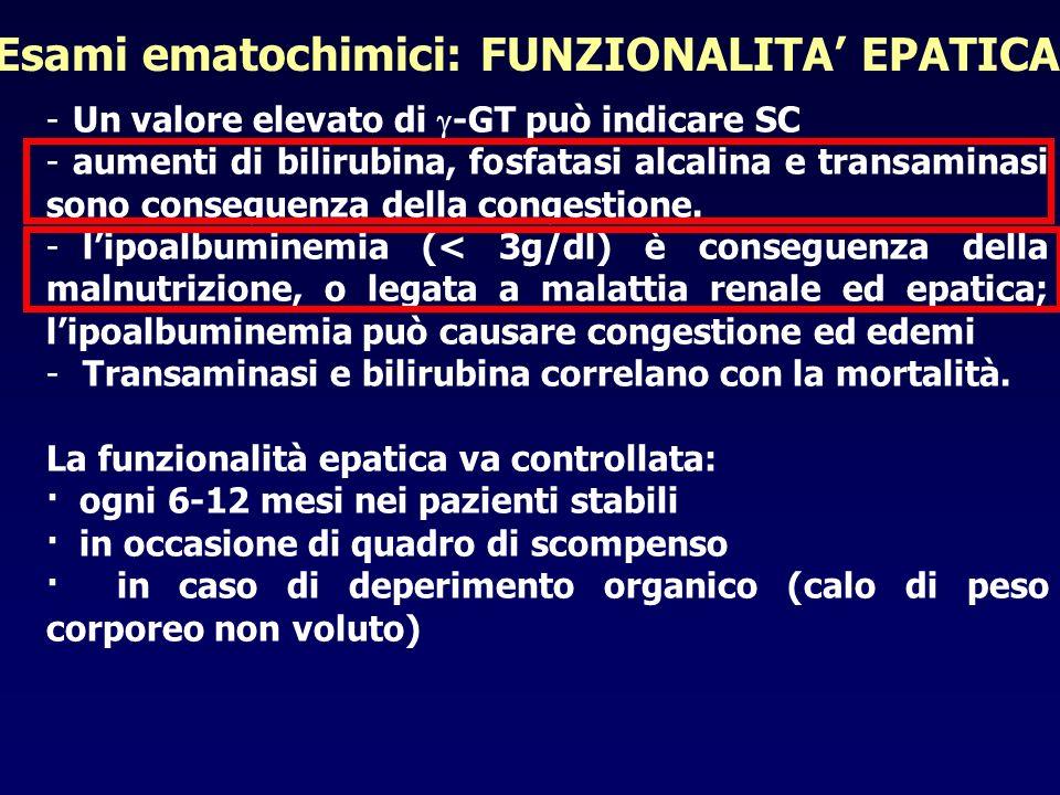 -Un valore elevato di -GT può indicare SC -aumenti di bilirubina, fosfatasi alcalina e transaminasi sono conseguenza della congestione. - lipoalbumine