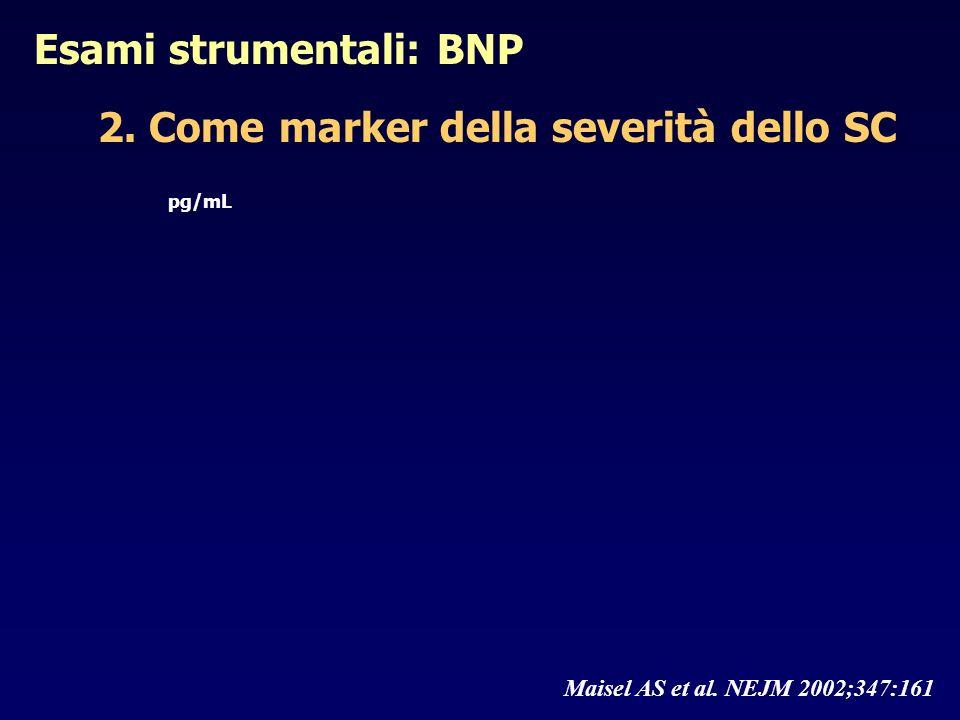 Esami strumentali: BNP 2. Come marker della severità dello SC pg/mL Maisel AS et al. NEJM 2002;347:161