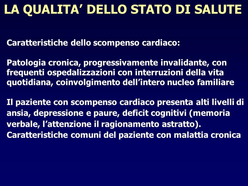 LA QUALITA DELLO STATO DI SALUTE Caratteristiche dello scompenso cardiaco: Patologia cronica, progressivamente invalidante, con frequenti ospedalizzaz