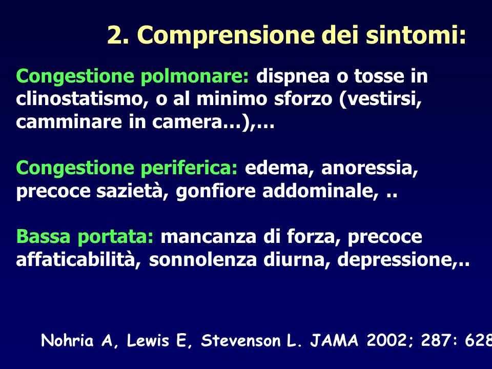 2. Comprensione dei sintomi: Congestione polmonare: dispnea o tosse in clinostatismo, o al minimo sforzo (vestirsi, camminare in camera…),… Congestion