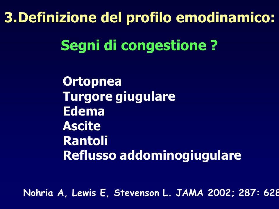 3.Definizione del profilo emodinamico: Segni di congestione ? Nohria A, Lewis E, Stevenson L. JAMA 2002; 287: 628 Ortopnea Turgore giugulare Edema Asc