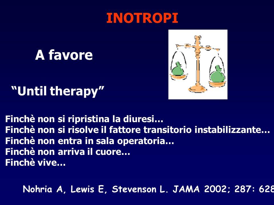 INOTROPI A favore Until therapy Finchè non si ripristina la diuresi… Finchè non si risolve il fattore transitorio instabilizzante… Finchè non entra in