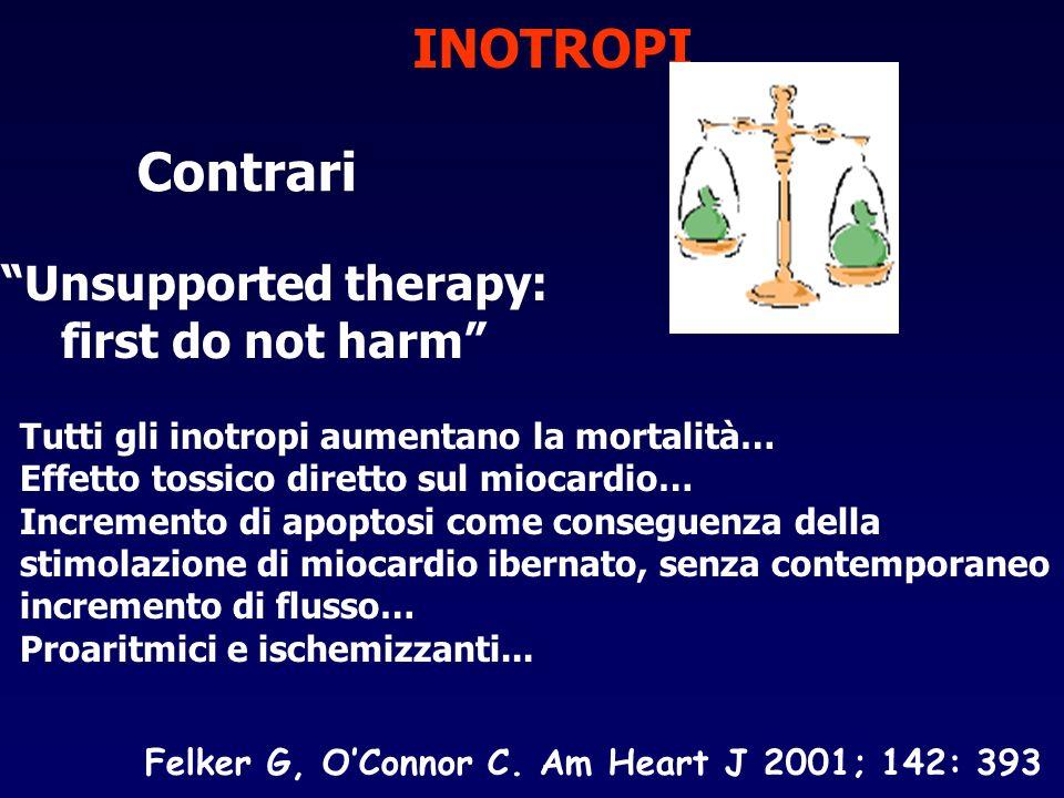 INOTROPI Contrari Unsupported therapy: first do not harm Tutti gli inotropi aumentano la mortalità… Effetto tossico diretto sul miocardio… Incremento