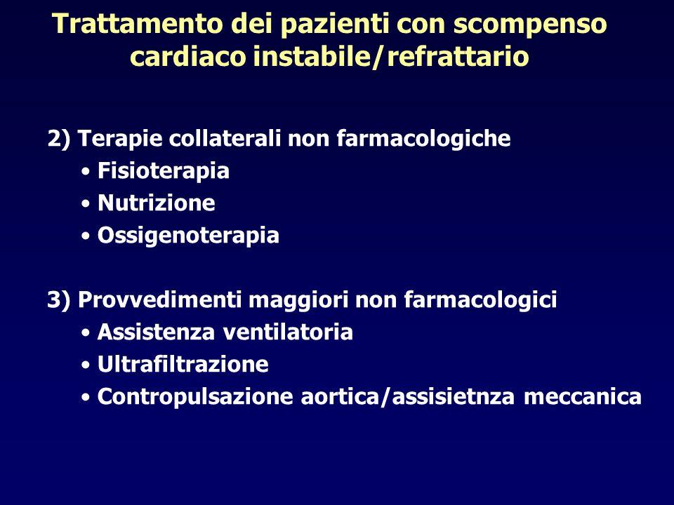 2) Terapie collaterali non farmacologiche Fisioterapia Nutrizione Ossigenoterapia 3) Provvedimenti maggiori non farmacologici Assistenza ventilatoria