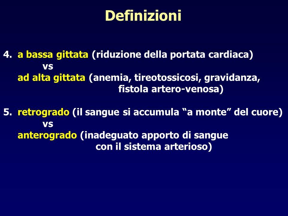 Definizioni 4.a bassa gittata (riduzione della portata cardiaca) vs ad alta gittata (anemia, tireotossicosi, gravidanza, fistola artero-venosa) 5.retr