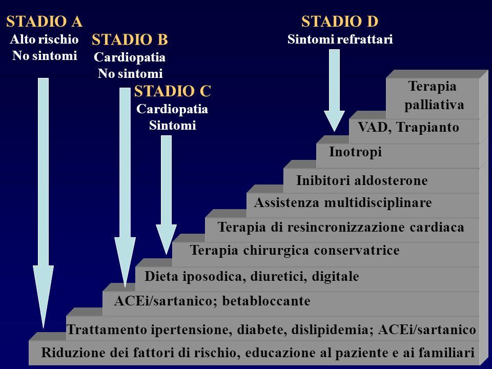 STADIO A Alto rischio No sintomi STADIO D Sintomi refrattari STADIO C Cardiopatia Sintomi STADIO B Cardiopatia No sintomi Riduzione dei fattori di ris