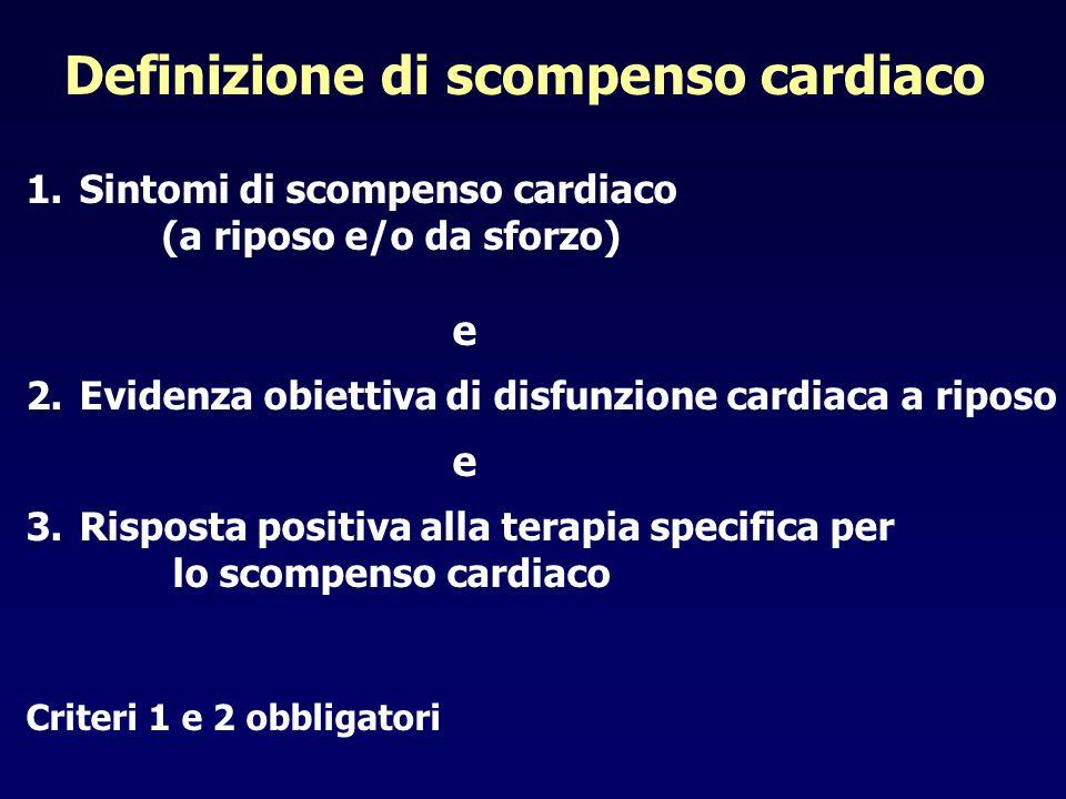 Definizione di scompenso cardiaco 1.Sintomi di scompenso cardiaco (a riposo e/o da sforzo) e 2.Evidenza obiettiva di disfunzione cardiaca a riposo e 3