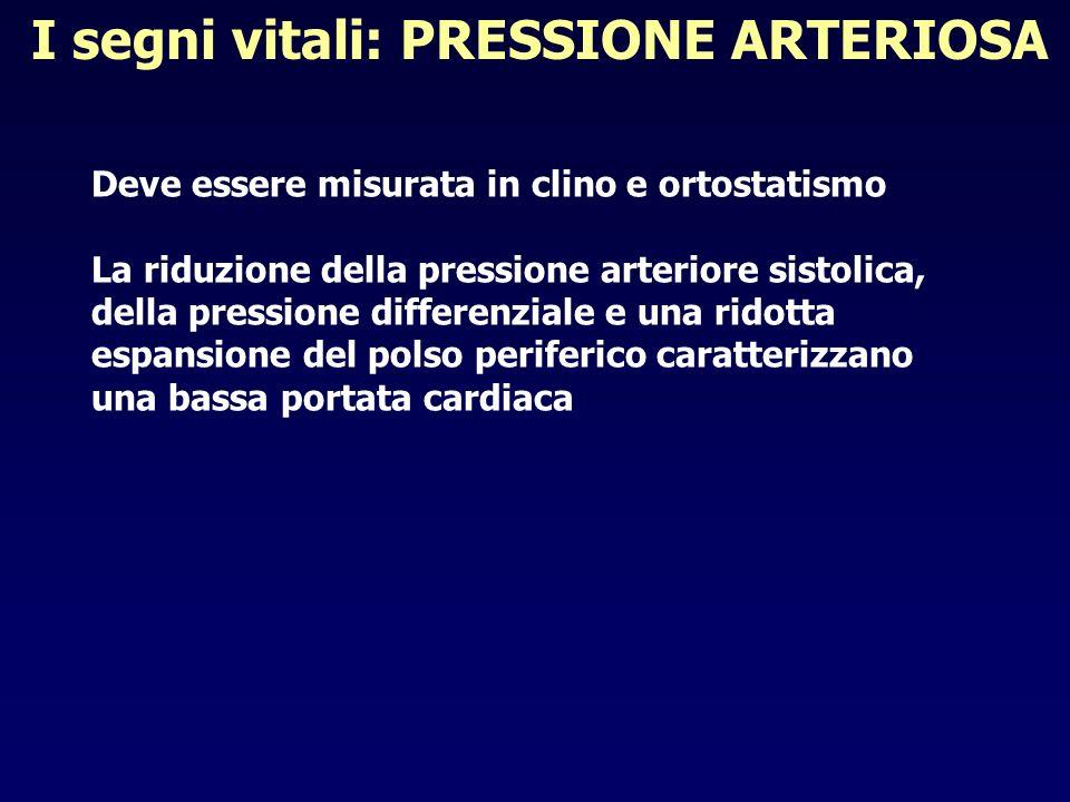 I segni vitali: PRESSIONE ARTERIOSA Deve essere misurata in clino e ortostatismo La riduzione della pressione arteriore sistolica, della pressione dif