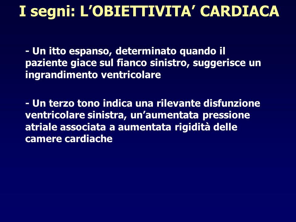 I segni: LOBIETTIVITA CARDIACA - Un itto espanso, determinato quando il paziente giace sul fianco sinistro, suggerisce un ingrandimento ventricolare -