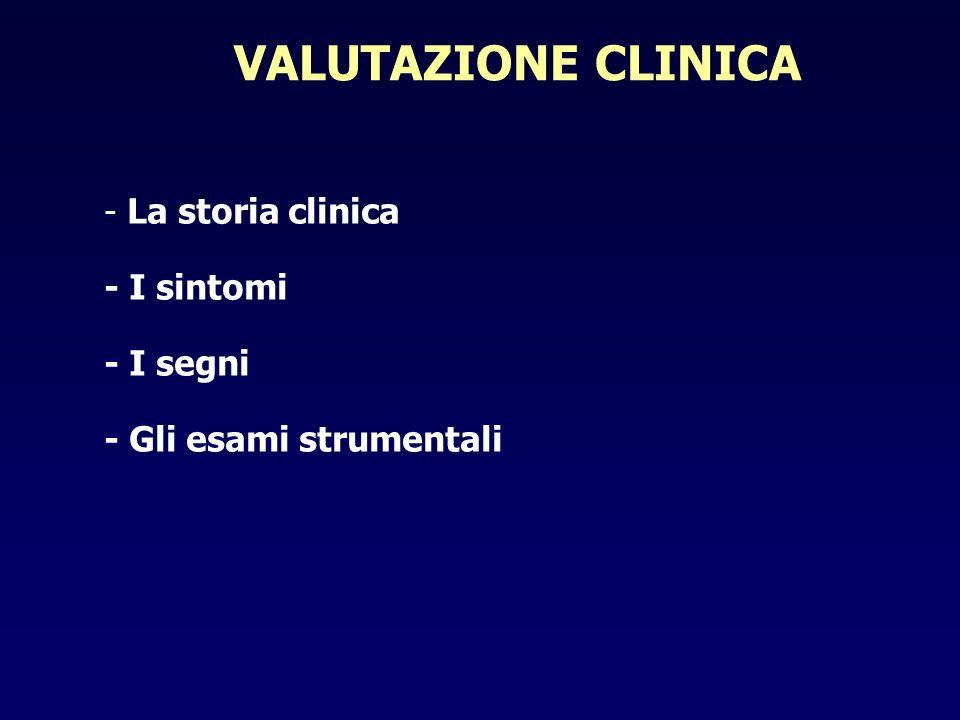VALUTAZIONE CLINICA - La storia clinica - I sintomi - I segni - Gli esami strumentali