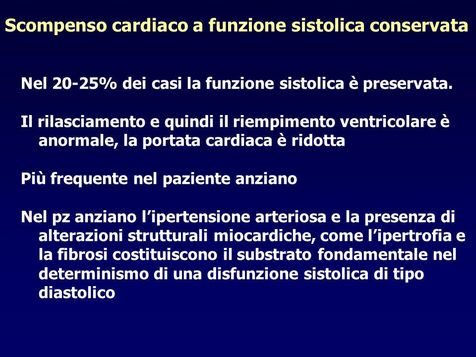 Scompenso cardiaco a funzione sistolica conservata Nel 20-25% dei casi la funzione sistolica è preservata. Il rilasciamento e quindi il riempimento ve