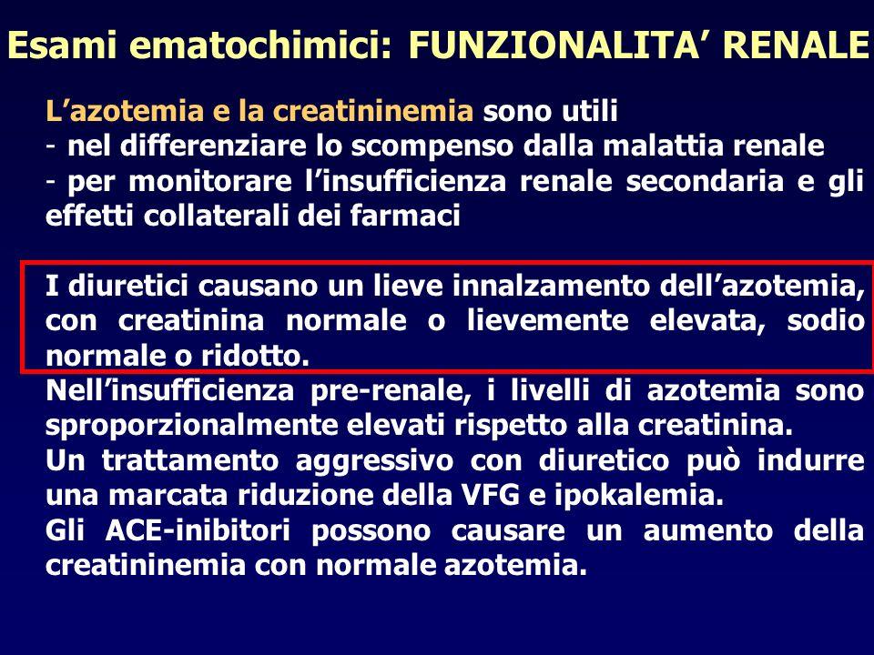 Lazotemia e la creatininemia sono utili -nel differenziare lo scompenso dalla malattia renale -per monitorare linsufficienza renale secondaria e gli e