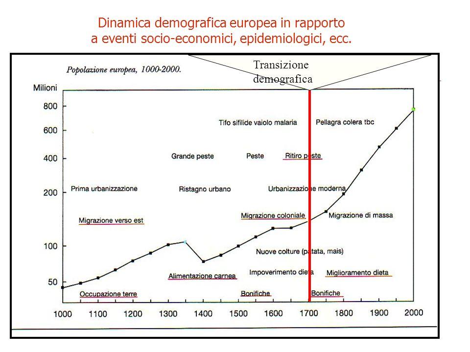 Dinamica demografica europea in rapporto a eventi socio-economici, epidemiologici, ecc. Transizione demografica