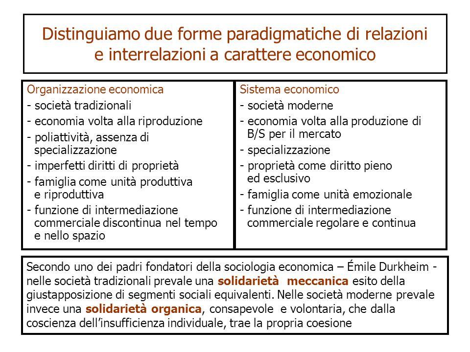 Distinguiamo due forme paradigmatiche di relazioni e interrelazioni a carattere economico Organizzazione economica - società tradizionali - economia v