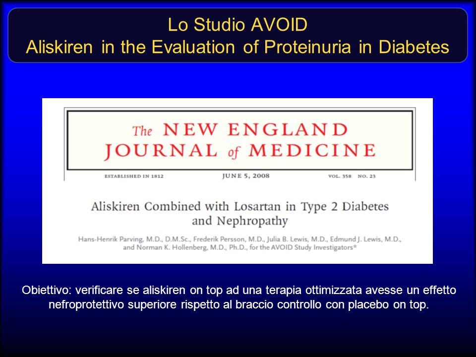 Lo Studio AVOID Aliskiren in the Evaluation of Proteinuria in Diabetes Obiettivo: verificare se aliskiren on top ad una terapia ottimizzata avesse un