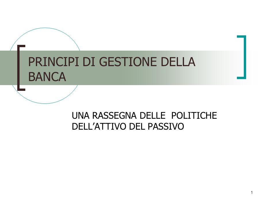 1 PRINCIPI DI GESTIONE DELLA BANCA UNA RASSEGNA DELLE POLITICHE DELLATTIVO DEL PASSIVO