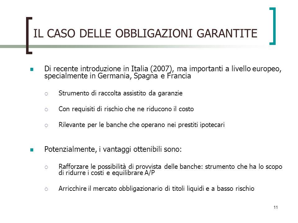 11 IL CASO DELLE OBBLIGAZIONI GARANTITE Di recente introduzione in Italia (2007), ma importanti a livello europeo, specialmente in Germania, Spagna e