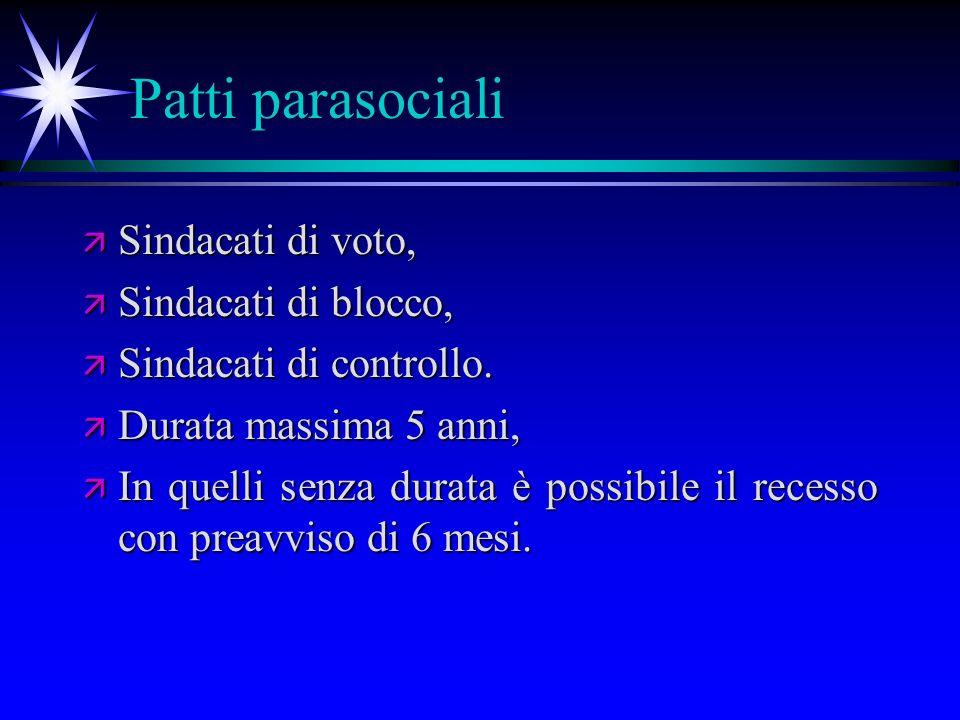 Patti parasociali ä Sindacati di voto, ä Sindacati di blocco, ä Sindacati di controllo.