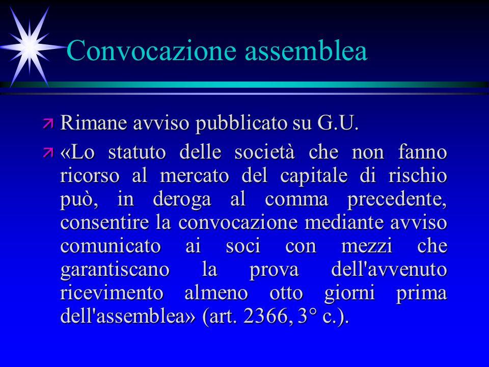 Convocazione assemblea ä Rimane avviso pubblicato su G.U.