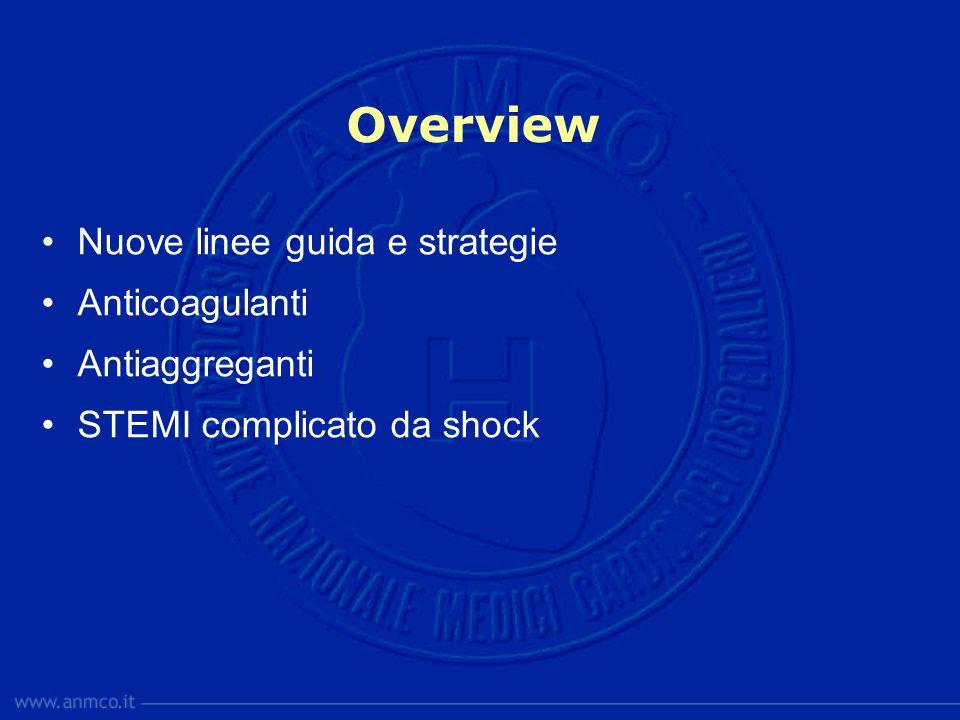 Overview Nuove linee guida e strategie Anticoagulanti Antiaggreganti STEMI complicato da shock