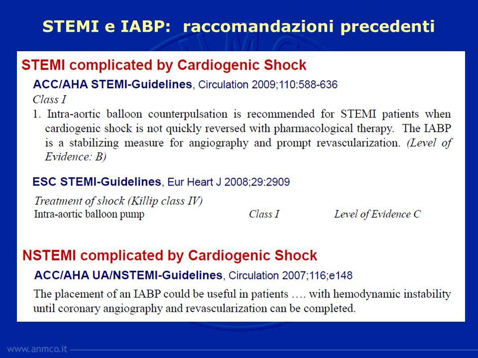 STEMI e IABP: raccomandazioni precedenti