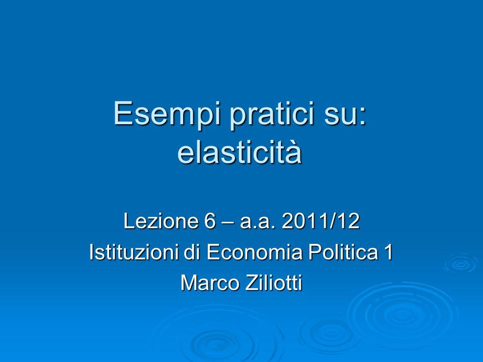 Esempi pratici su: elasticità Lezione 6 – a.a. 2011/12 Istituzioni di Economia Politica 1 Marco Ziliotti