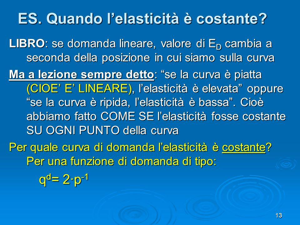 13 ES. Quando lelasticità è costante? LIBRO: se domanda lineare, valore di E D cambia a seconda della posizione in cui siamo sulla curva Ma a lezione