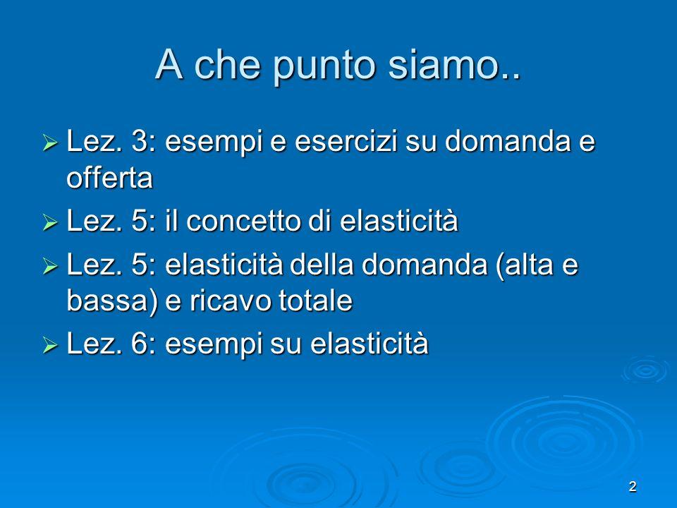 2 A che punto siamo.. Lez. 3: esempi e esercizi su domanda e offerta Lez. 3: esempi e esercizi su domanda e offerta Lez. 5: il concetto di elasticità