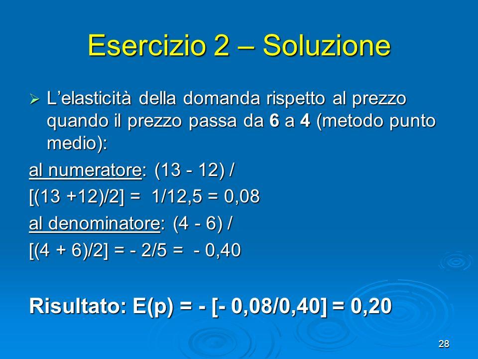 28 Esercizio 2 – Soluzione Lelasticità della domanda rispetto al prezzo quando il prezzo passa da 6 a 4 (metodo punto medio): Lelasticità della domand