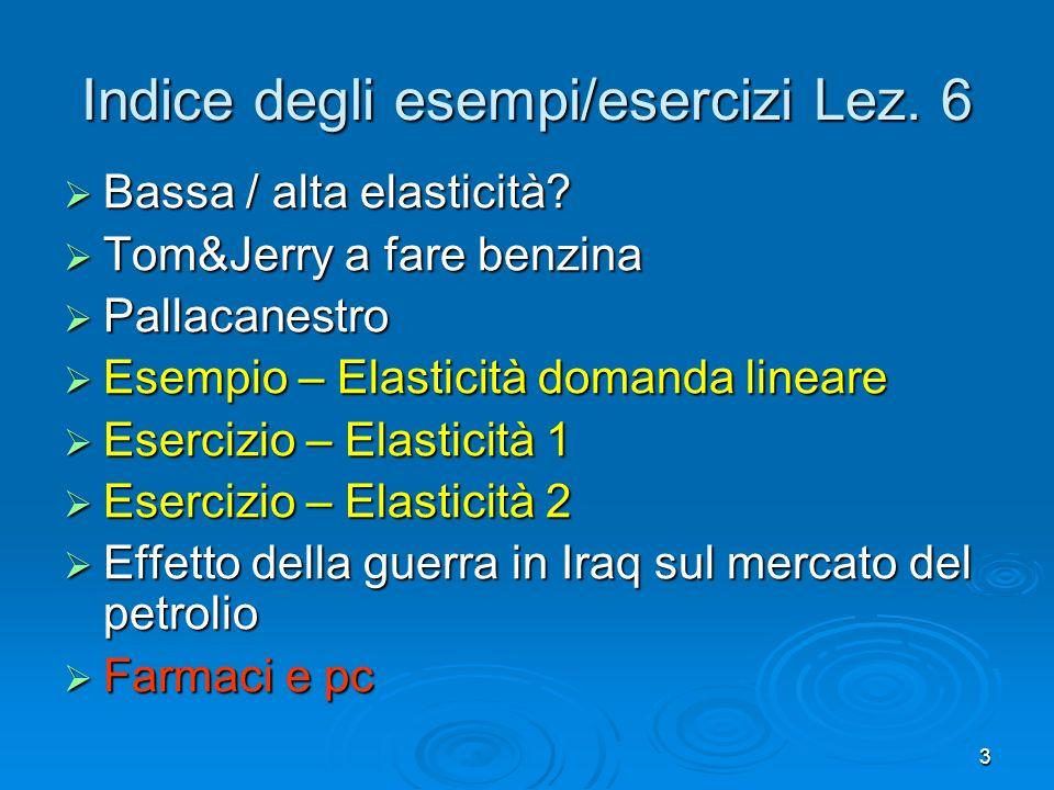 3 Indice degli esempi/esercizi Lez. 6 Bassa / alta elasticità? Bassa / alta elasticità? Tom&Jerry a fare benzina Tom&Jerry a fare benzina Pallacanestr