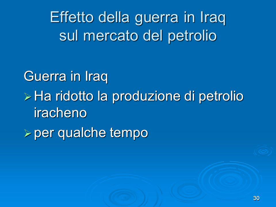 30 Effetto della guerra in Iraq sul mercato del petrolio Guerra in Iraq Ha ridotto la produzione di petrolio iracheno Ha ridotto la produzione di petr