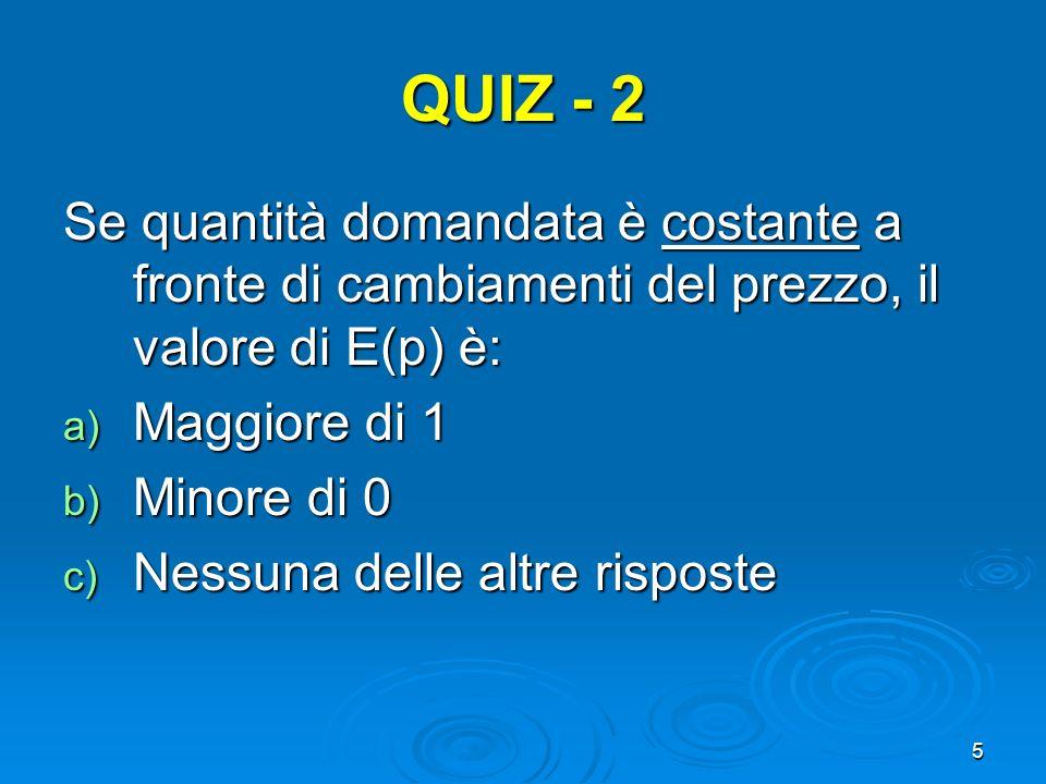 5 QUIZ - 2 Se quantità domandata è costante a fronte di cambiamenti del prezzo, il valore di E(p) è: a) Maggiore di 1 b) Minore di 0 c) Nessuna delle