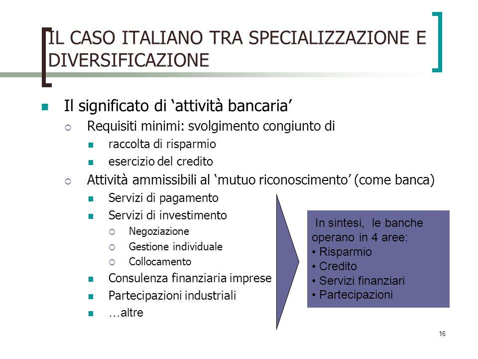 16 IL CASO ITALIANO TRA SPECIALIZZAZIONE E DIVERSIFICAZIONE Il significato di attività bancaria Requisiti minimi: svolgimento congiunto di raccolta di