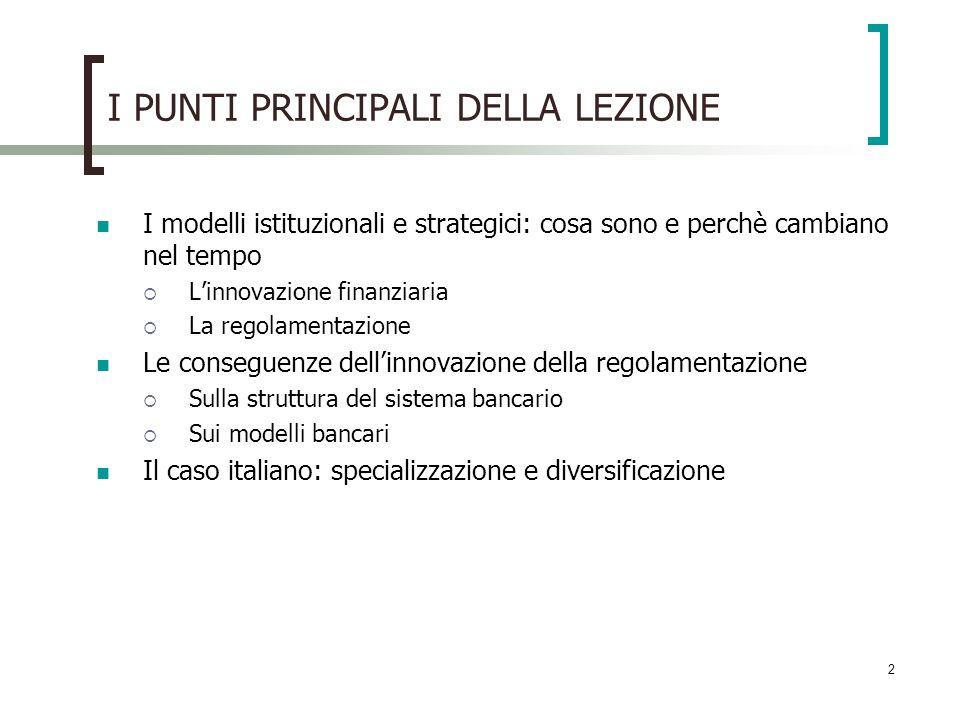 2 I PUNTI PRINCIPALI DELLA LEZIONE I modelli istituzionali e strategici: cosa sono e perchè cambiano nel tempo Linnovazione finanziaria La regolamenta