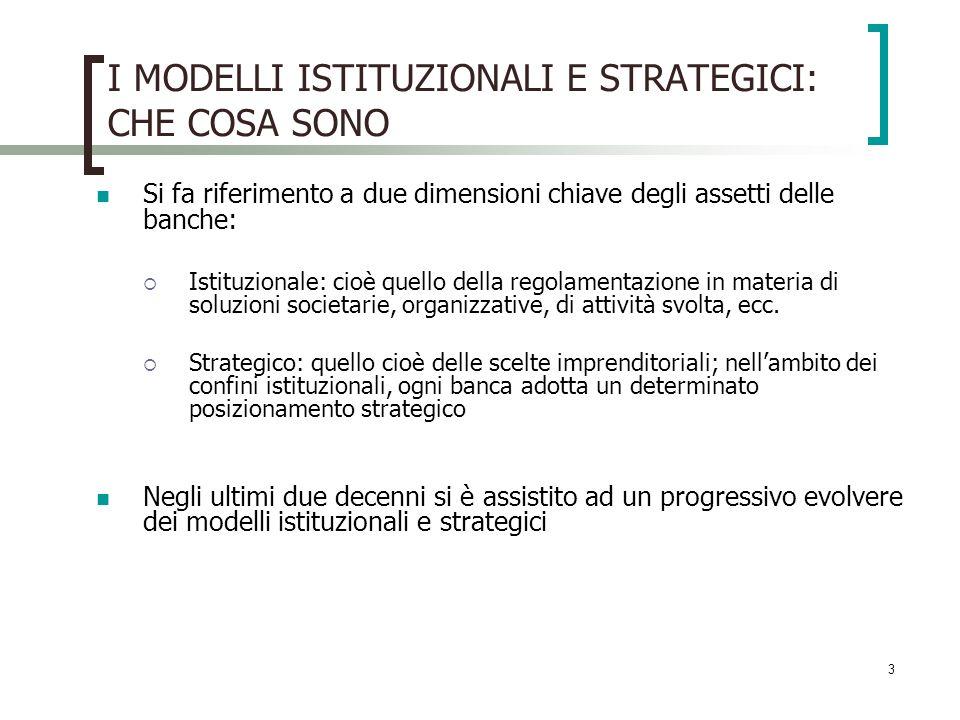 3 I MODELLI ISTITUZIONALI E STRATEGICI: CHE COSA SONO Si fa riferimento a due dimensioni chiave degli assetti delle banche: Istituzionale: cioè quello