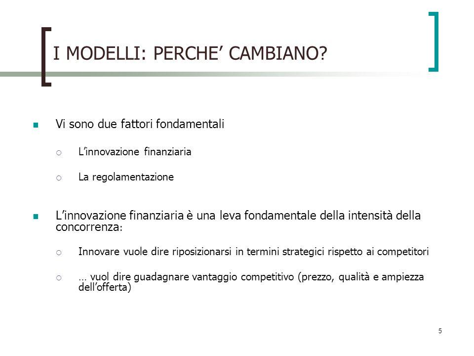 5 I MODELLI: PERCHE CAMBIANO? Vi sono due fattori fondamentali Linnovazione finanziaria La regolamentazione Linnovazione finanziaria è una leva fondam