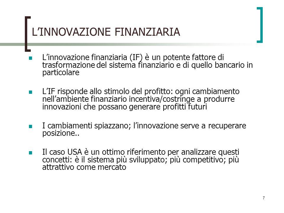 7 LINNOVAZIONE FINANZIARIA Linnovazione finanziaria (IF) è un potente fattore di trasformazione del sistema finanziario e di quello bancario in partic