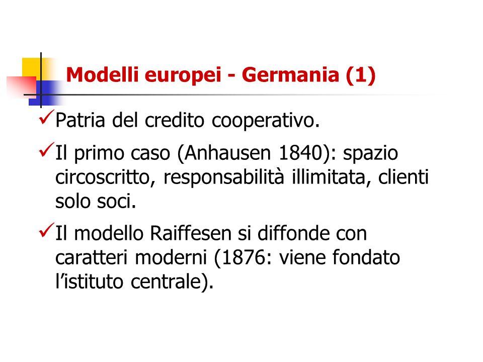 Modelli europei - Germania (1) Patria del credito cooperativo. Il primo caso (Anhausen 1840): spazio circoscritto, responsabilità illimitata, clienti