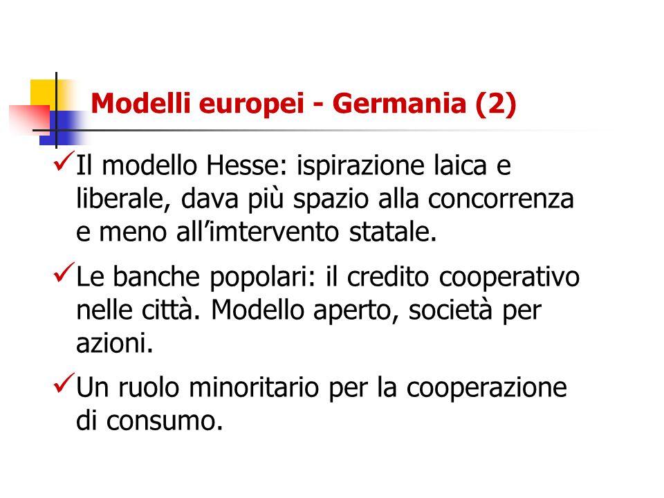 Modelli europei - Germania (2) Il modello Hesse: ispirazione laica e liberale, dava più spazio alla concorrenza e meno allimtervento statale. Le banch