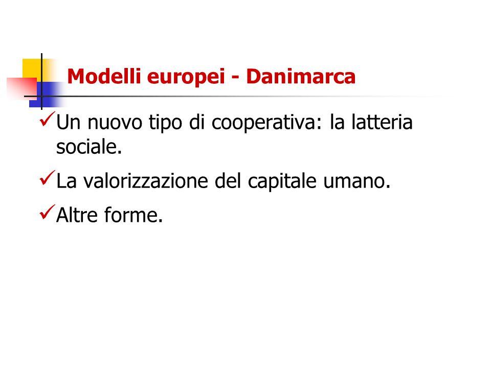 Modelli europei - Danimarca Un nuovo tipo di cooperativa: la latteria sociale. La valorizzazione del capitale umano. Altre forme.