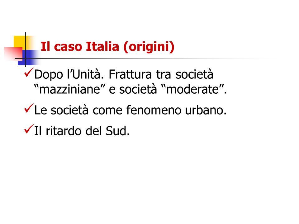 Il caso Italia (origini) Dopo lUnità. Frattura tra società mazziniane e società moderate. Le società come fenomeno urbano. Il ritardo del Sud.